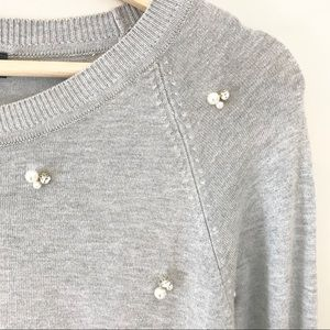 Zara Pearl and Rhinestone Gray Sweater M